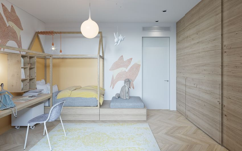 乌克兰马卡龙色系单身卧房