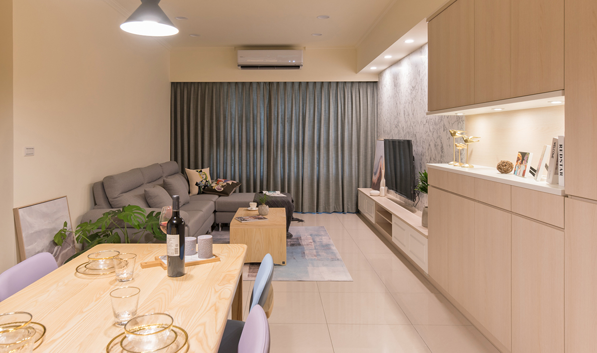 客廳空間實木餐桌椅現代沙發