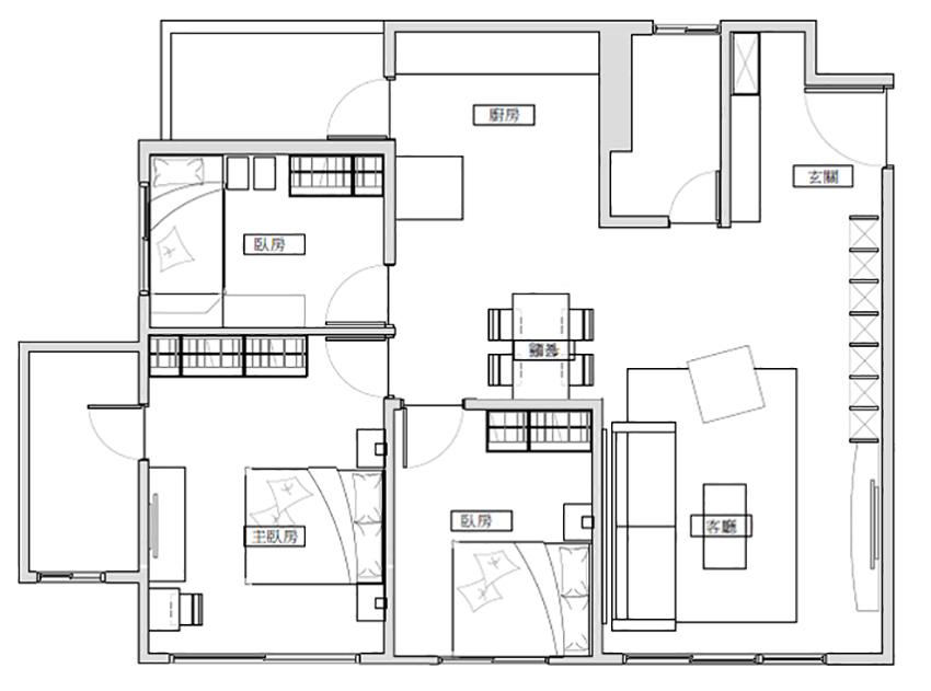 建案3郎2廳室內設計平面圖
